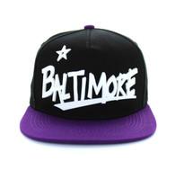 SM355 Baltimore City Snapback (Black & Purple)