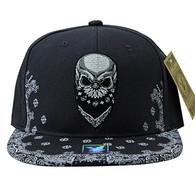SM587 Skull Snapback (Solid Black)