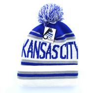 WB071 Kansas City Pom Pom Beanie (Royal Blue & White)