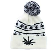 WB071 Marijuana Pom Pom Beanie (White & Black)