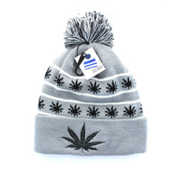 WB071 Marijuana Pom Pom Beanie (Light Grey & Black)