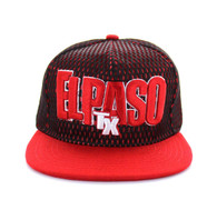 SM033 El Paso Hard Mesh Snapback Cap (Black & Red)