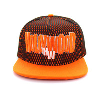 SM033 Hollywood Hard Mesh Snapback Cap (Black & Orange)