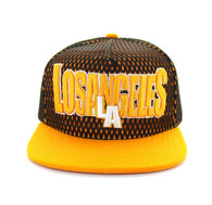 SM033 Los Angeles Hard Mesh Snapback Cap (Black & Gold)