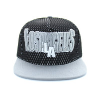 SM033 Los Angeles Hard Mesh Snapback Cap (Black & Light Grey)
