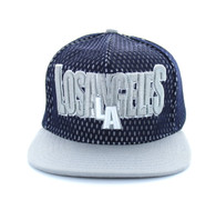 SM033 Los Angeles Hard Mesh Snapback Cap (Navy & Light Grey)