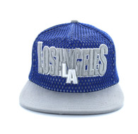 SM033 Los Angeles Hard Mesh Snapback Cap (Royal Blue & Light Grey)