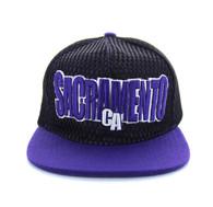 SM033 Sacramento Hard Mesh Snapback Cap (Black & Purple)