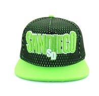 SM033 San Diego Hard Mesh Snapback Cap (Black & Lime)