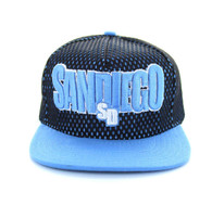SM033 San Diego Hard Mesh Snapback Cap (Black & Sky Blue)