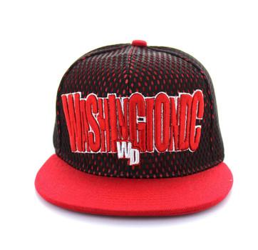 SM033 Washinton DC Hard Mesh Snapback Cap (Black   Red) - Ace Cap c19f2270138f