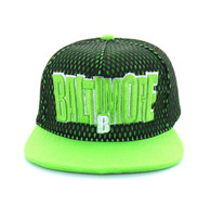 SM033 Baltimore Hard Mesh Snapback Cap (Black & Lime)