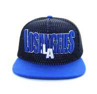 SM033 Los Angeles Hard Mesh Snapback Cap (Black & Royal Blue)