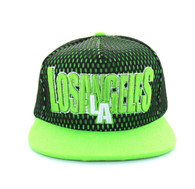 SM033 Los Angeles Hard Mesh Snapback Cap (Black & Lime )
