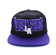 SM033 Los Angeles Hard Mesh Snapback Cap (Black & Purple)