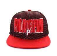 SM033 Philadelphia Hard Mesh Snapback Cap (Black & Red)