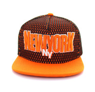 SM033 New York Hard Mesh Snapback Cap (Black & Orange)