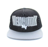 SM033 New York Hard Mesh Snapback Cap (Black & Light Grey)