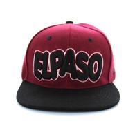 SM110 El Paso Snapback Cap (Burgandy & Black)