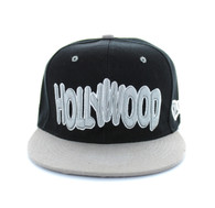 SM110 Hollywood Snapback Cap (Black & Light Grey)