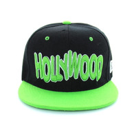 SM110 Hollywood Snapback Cap (Black & Lime)