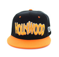 SM110 Hollywood Snapback Cap (Black & Orange)
