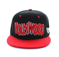SM110 Hollywood Snapback Cap (Black & Red)