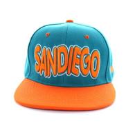 SM110 San Diego Snapback Cap (Aqua & Orange)