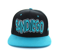 SM110 San Diego Snapback Cap (Black & Aqua)