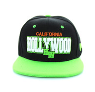 SM112 Hollywood Snapback Cap (Black & Lime)