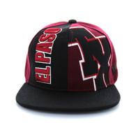 SM117 El Paso Snapback Cap (Burgundy & Black)
