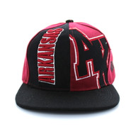 SM117 Arkansas Snapback Cap (Black & Burgundy)