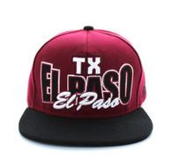 SM149 El Paso Snapback Cap (Burgundy & Black)