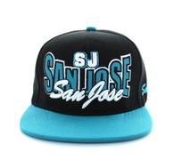 SM149 San Jose Snapback Cap (Black & Aqua)
