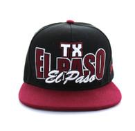 SM149 El Paso Snapback Cap (Black & Burgundy)