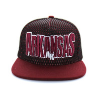 SM149 Arkansas Hard Mesh Snapback Cap (Black & Burgundy)