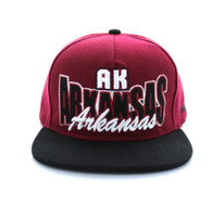 SM149 Arkansas Snapback Cap (Burgundy & Black)