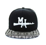 SM267 Miami Snapback Cap (Black & Bandana Black)