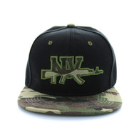 SM267 New York Snapback Cap (Black & Military Camo)