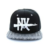 SM267 New York Snapback Cap (Black & Bandana Black)