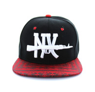 SM267 New York Snapback Cap (Black & Bandana Red)