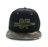 SM267 San Francisco Snapback Cap (Black & Military Camo)