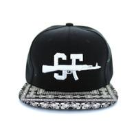 SM267 San Francisco Snapback Cap (Black & Bandana Black)