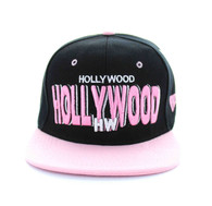 SM142 Hollywood Snapback Cap (Black & Pink)