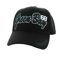 VM144 Green Bay Velcro Cap (Solid Black)