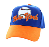 VM294 New York Velcro Cap (Royal Blue & Orange)