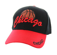 VM349 Chicago Velcro Cap (Black & Red)