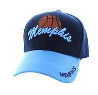 VM349 Memphis Velcro Cap (Navy & Sky Blue)