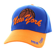 VM349 New York Velcro Cap (Royal Blue & Orange)