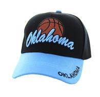 VM349 Oklahoma Velcro Cap (Black & Sky Blue)